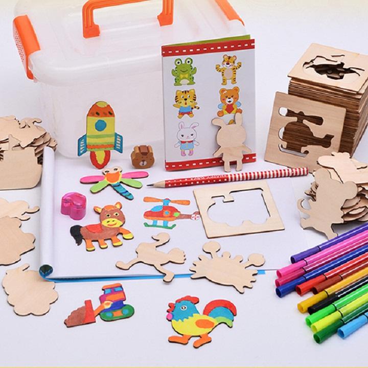 Bộ khuân gỗ tập vẽ tranh và tô màu cho bé siêu thú vị