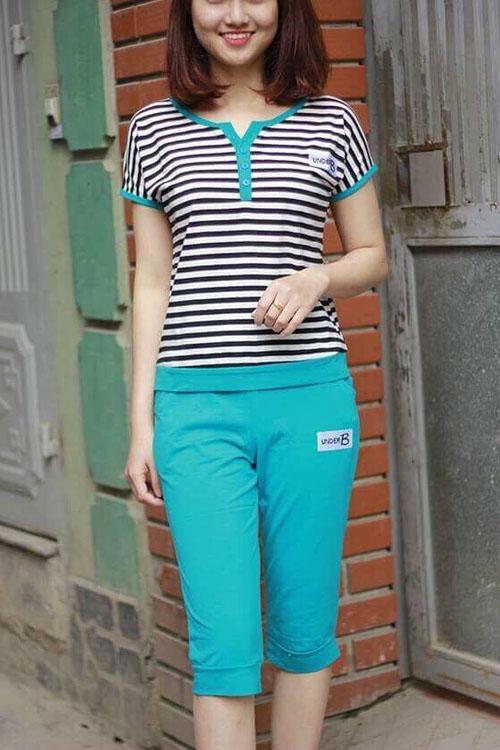 Bộ quần áo mặc ở nhà đẹp thời trang 2017 pha kẻ Uniqlo cao cấp cho nữ màu sắc trang nhã