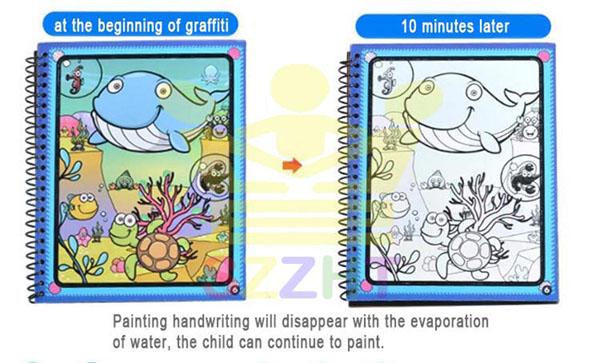 Sách tô màu cho trẻ em thần kỳ tự xóa sau 10 phút xóa màu trở lại ban đầu sau 10 phút