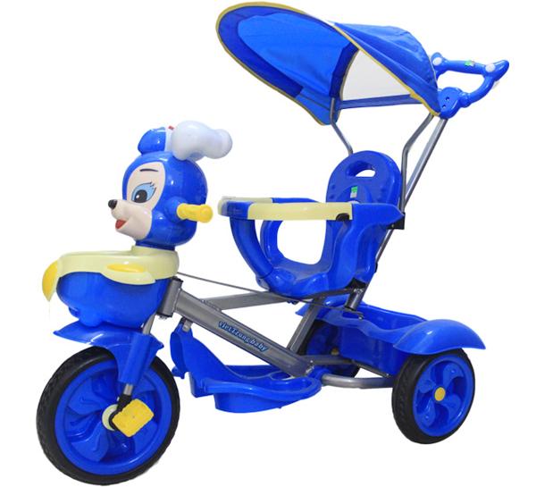 Xe ba bánh cho bé có mái che và cần đẩy tiện ích hơn cho mẹ
